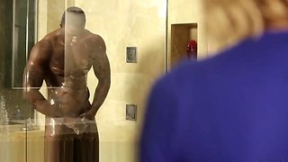 Horny Teen Peeps on Hung Boss in Shower!