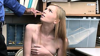Innocent cute shoplifter gets her sweet pussy licked