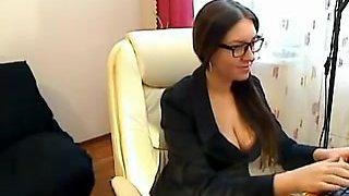 Czech Secretary fingers in nylons