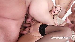 Hot, blonde woman in black stockings and garter belt, Natalie Cherie is having group sex