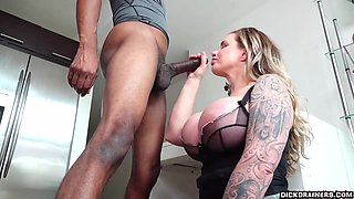 Inked blonde with big tits, Ryan Conner got down and dirty with her black boss