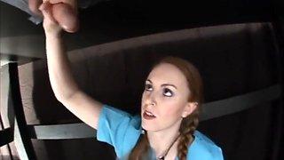 nurse with big natural tits gives gloryhole handjob