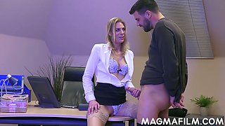 Female boss Ashley Red is eager for crazy anal sex with delivery boy