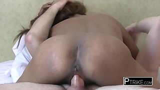 Little asian hoe gets her asshole and pussy licked and fucked with the tongue