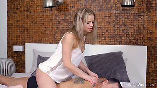 Libidinous teen Calibri is fucked in her anal hole for the first time