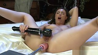 Busty amateur drilled by dildo machine uses vibrator on pussy