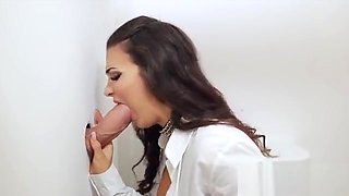 Huge tits boss sucks through glory hole