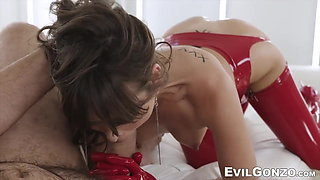 Voluptuous babe in red latex has her butt smashed by a cock