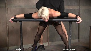 short haired blonde struggled to swallow my cock fully