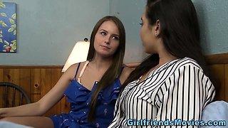 Lesbian teen scissors until climax