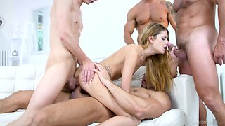 Italian porn model Rebecca Volpetti is fucked by several hot tempered guys