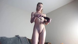 Skinny slim blond small tits hard nipples cameltoe pussy