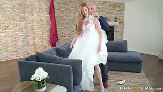 future bride Lauren Phillips enjoys hard fuck with her hairless lover