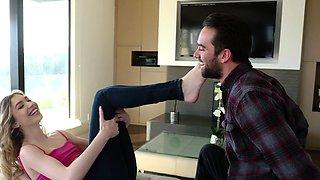 Petite Mackenzie Moss Gives Her Brothers Friend a Footjob