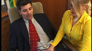 Horny secretary in yellow dress Lea De Mae  gets banged by her boss