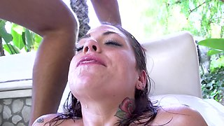 Rough anal pounding of oiled up porn slut Karmen Karma