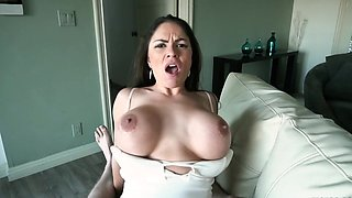 Brunette with large boobs premium POV porn play on cam