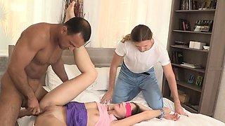 Aroused teen brunette floosy Stefanie gets penetrated