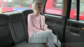 Perky tits amateur blonde passenger fucked in the taxi