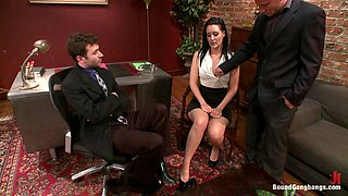 Rough Gangbang with Anal and DP in the Office for Brunette