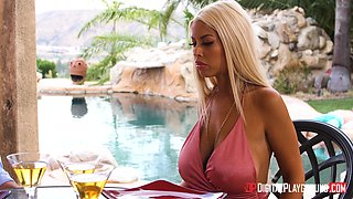 Dick craving blonde Bridgette B seduced for an outdoor fuck