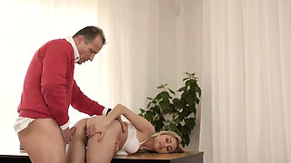 VIP4K. Old gentleman is glad to see an adorable babe