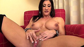 Naked Female Bodybuilder Plays With Her Big Clit