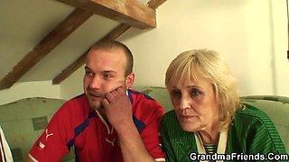Skinny blonde granny double penetration