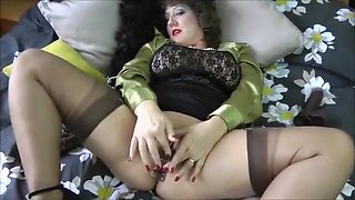 luscious Mommy FF Nylons tease toys for facial