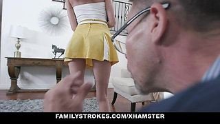 Family Strokes - Skinny Teen Lets Step Grandpa Fuck Her
