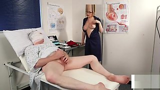 Bossy voyeur nurse undress while instructing patient to wank