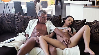 Old white man gets fucked in the ass by two aggressive girls