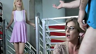 Lucky Guy Fucks His Step Mom and His Step Sister
