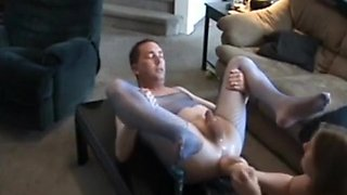 Dude gets his ass masturbated with a dildo and fisted by his gf