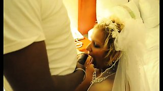 Slutty mature bride takes a big black cock down her throat