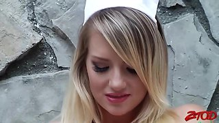 Racy blonde nurse in white fishnets is about to get fucked the way she always wanted