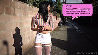 Skinny chick Viva Athena in stockings fucked in her juicy pussy