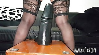 Massive dildos stretch her insatiable loose pussy