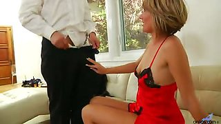 Red satin cougar hunts down a juicy cock to wrap her legs