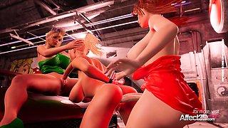 Blonde cop catches a lesbian futa couple in a hd animation