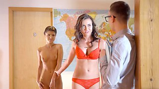Nerdy teacher fucks cute student and her lusty stepmom