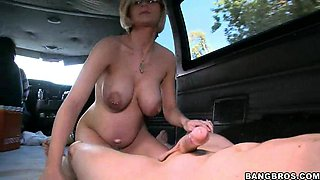 Dudes pick up busty pregnant blonde & fuck her in the car