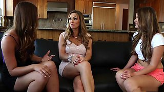 Fabulous pornstars Jillian Janson, Tanya Tate and Abby Cross in horny blowjob, lesbian porn scene