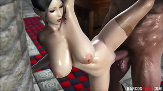 Huge tits 3d queen hammered by soldier player