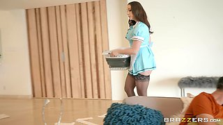 sexy Chanel Preston enjoys hard fuck with her friend at the laundry