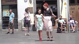 Rope bondage for petite slave in public