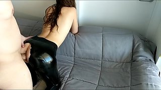 Step brother abuse &amp rips sisters leather pants cums on her