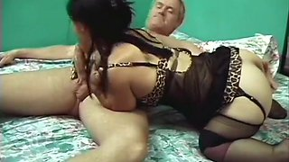 Horny midget babe fucks older guy