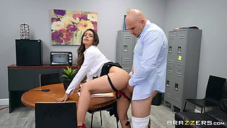 Amazing pornstar Katana Kombat fucked on the office table by a fat cock