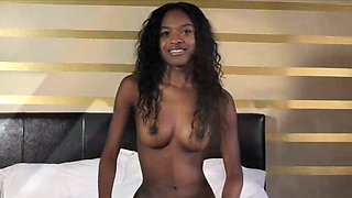 Super perky black teen likes a finger in her ass